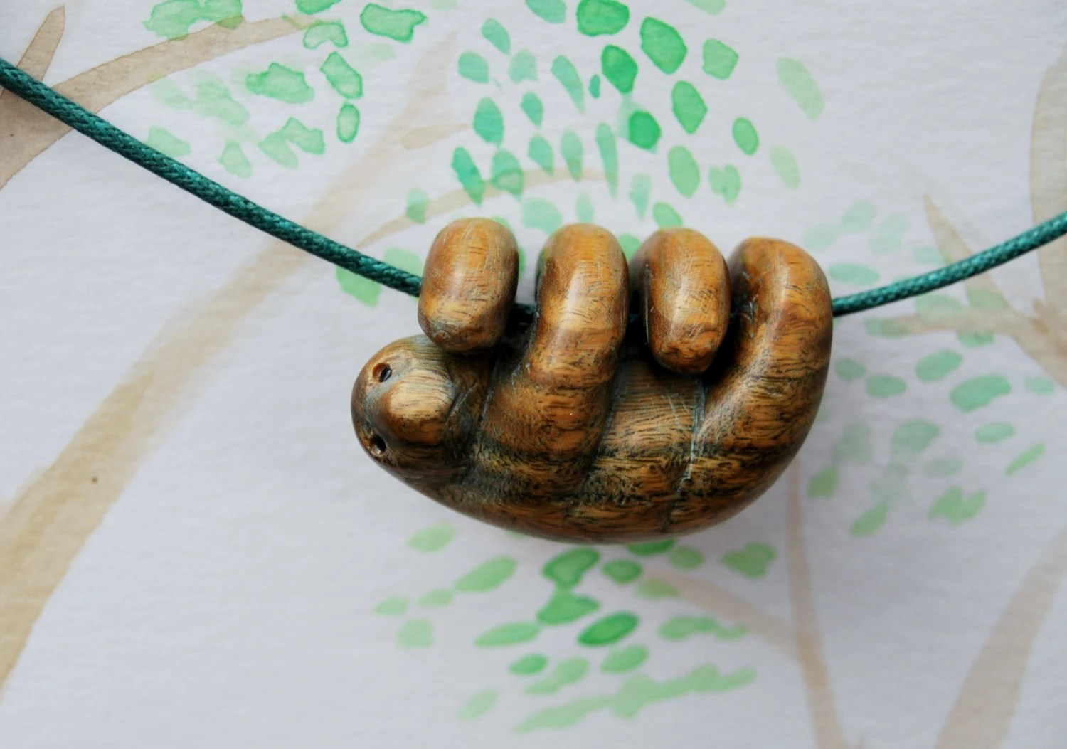 Sloth Necklace Carved From Argentinian Lignum Vitae Wood