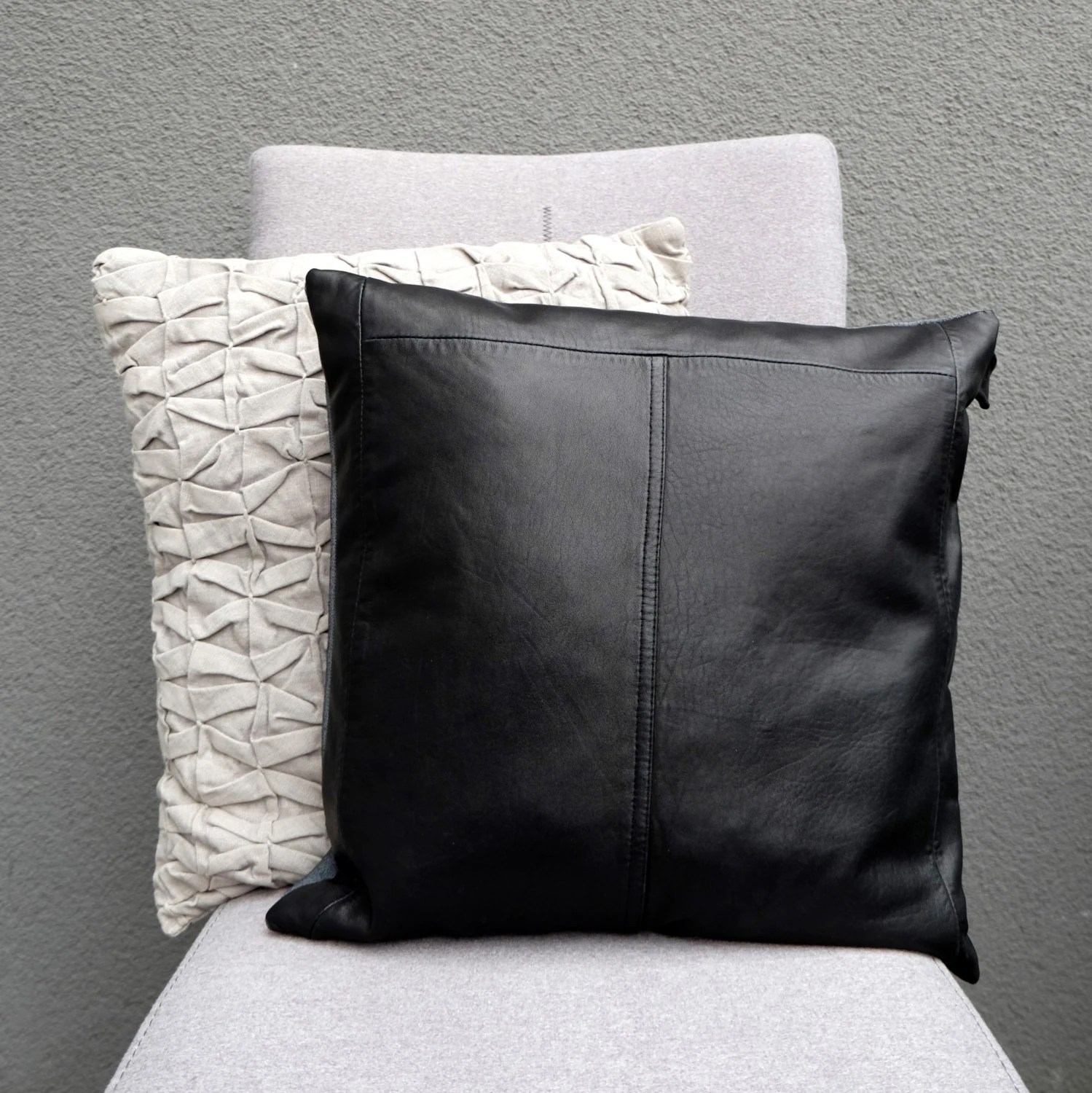 Black leather pillow Luxurious pillow case Pillow cover