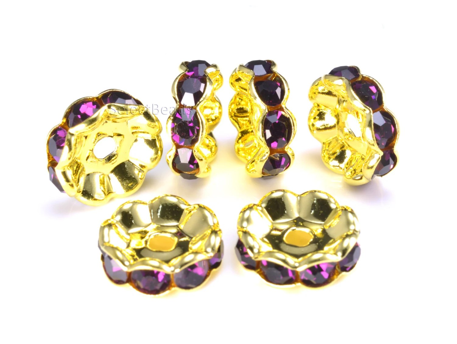 Rhinestone copper spacer bead yellow gold plated purple for Craft and jewelry supplies