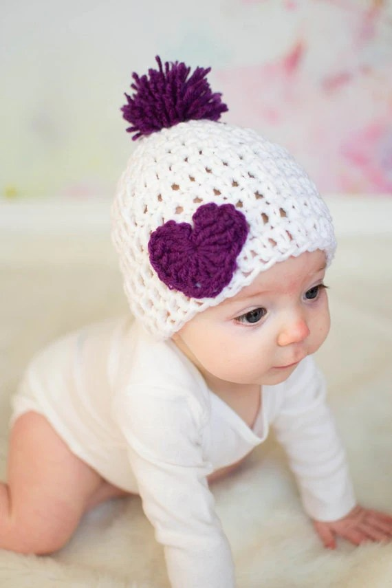 Crochet Baby Hat Valentines Day Hat Baby Heart Hat Purple