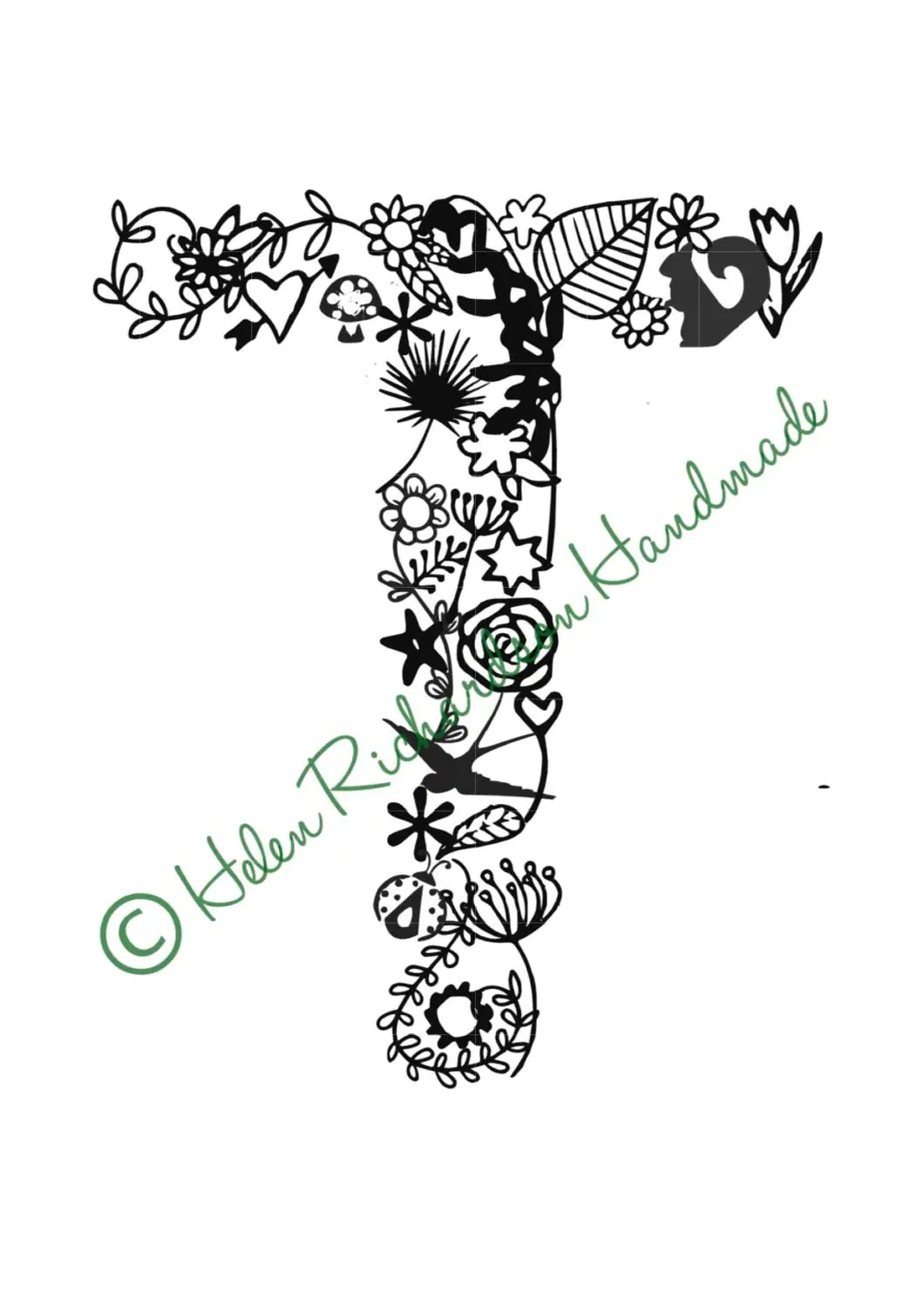 Floral Alphabet Letter T Paper Cutting Template For