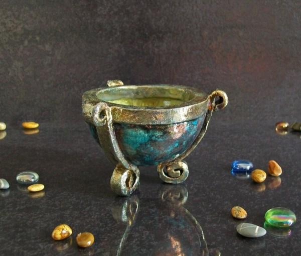 Raku Pottery Ashtray Ceramic Bowl Cauldron Tea Light