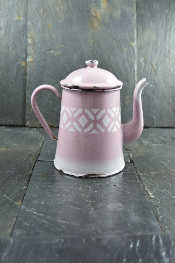 Vintage Enamel Pink Pitcher White Geometric Shapes