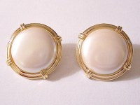 Monet Pearl Moon Button Clip On Earrings by