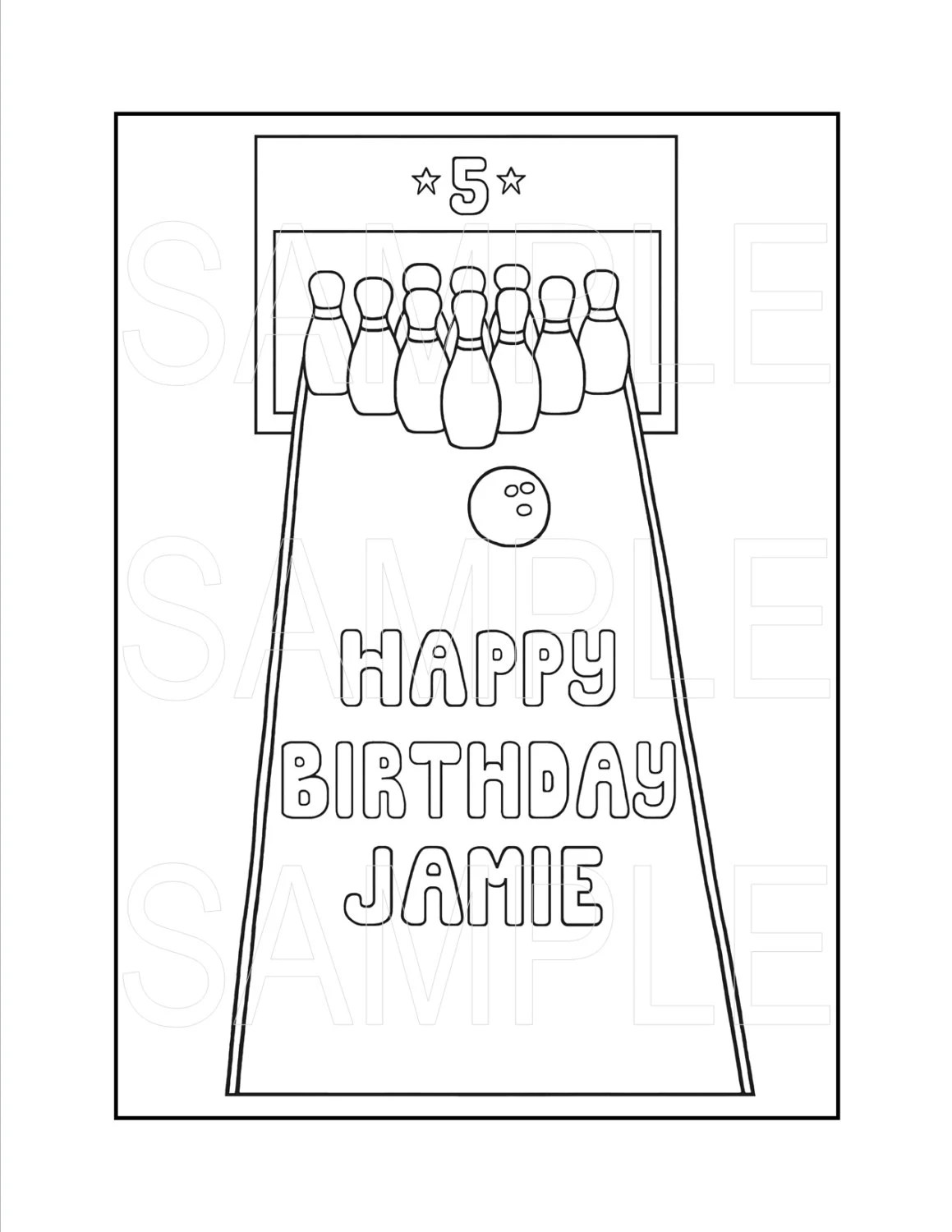 Bowling Party Printable Coloring Page Custom by