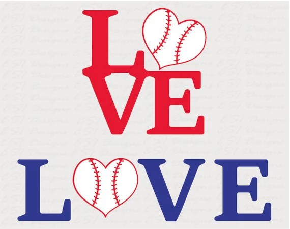 Download Baseball love designs SVG DXF EPS for use with Silhouette