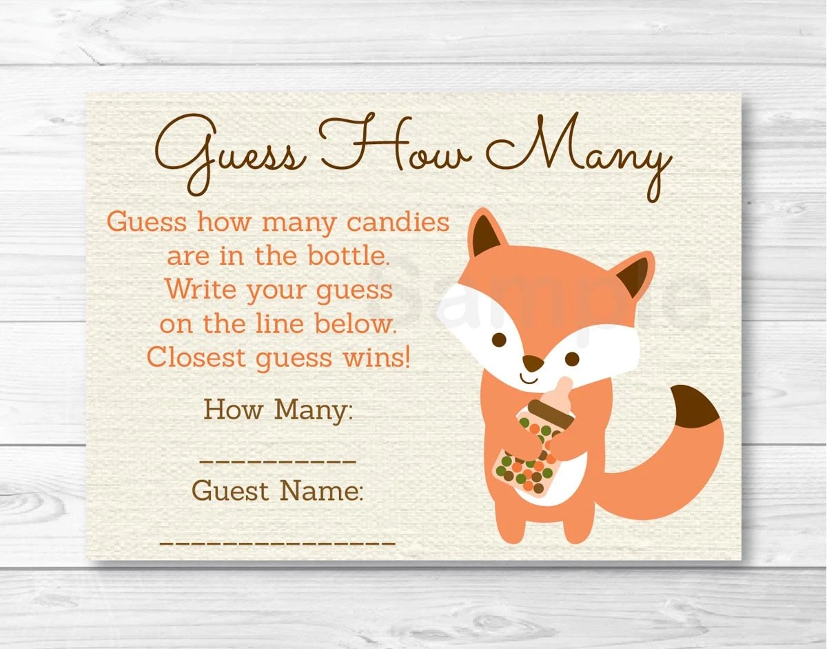 Woodland Fox Guess How Many Baby Shower Game Printable Instant