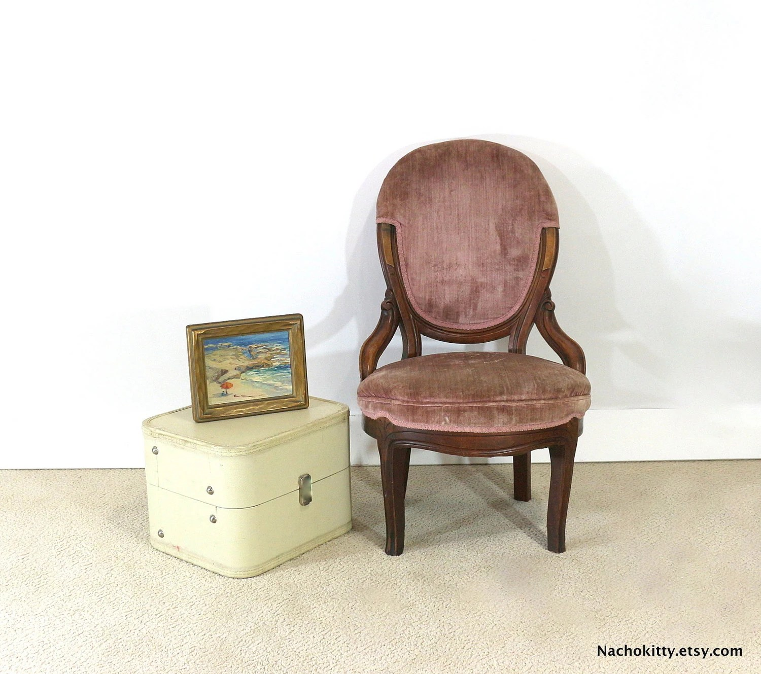 pink vanity chair french cafe chairs target 1920s silk velvet sitting ladies by