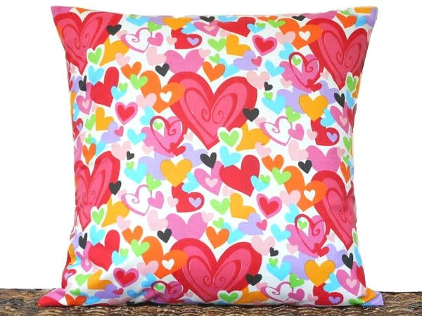 Hearts Valentine Pillow Cover Cushion by PookieandJack on Etsy
