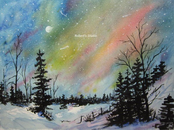 Original Watercolor Landscape Painting Northern Lights Night