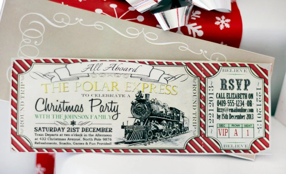 Polar Express CHRISTMAS Party Invitation INSTANT DOWNLOAD