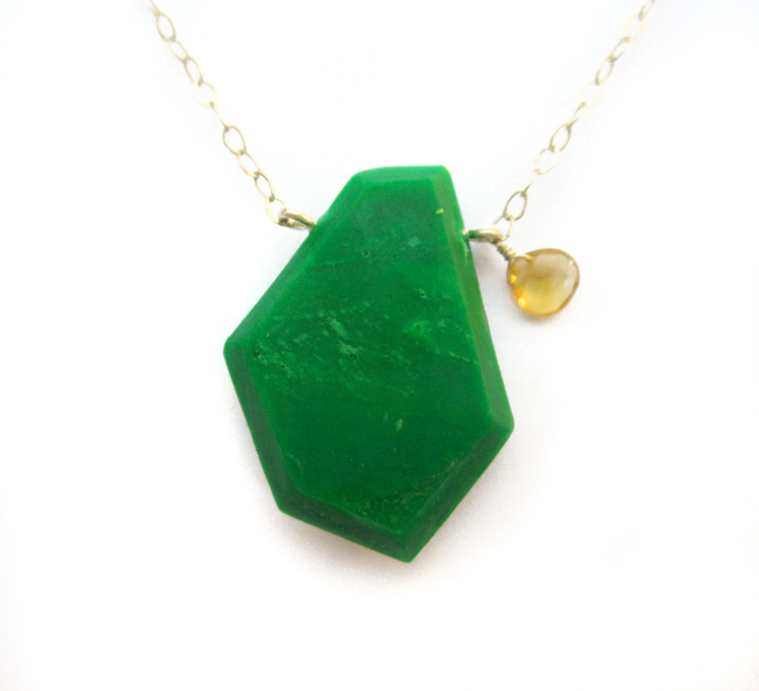 Items Similar To Modern Green Necklace With Genuine