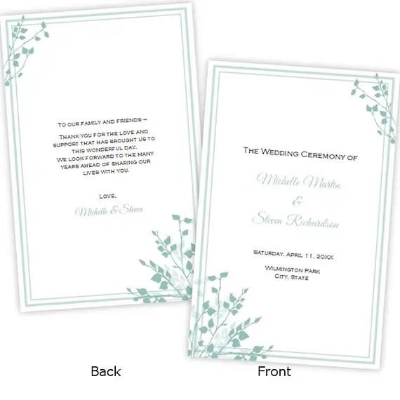 Half Fold Wedding Program Template Brittany
