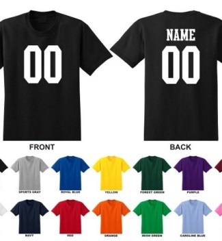 Personalized custom jersey style kid youth t-shirt, choose the number for front and name and number for back 0002