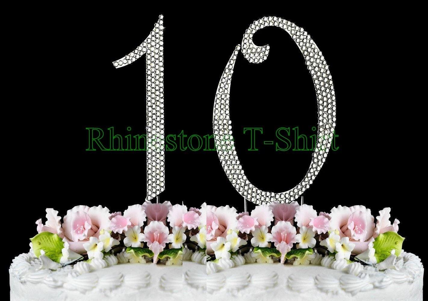 New Large Rhinestone Number 10 Cake Topper 10th Birthday