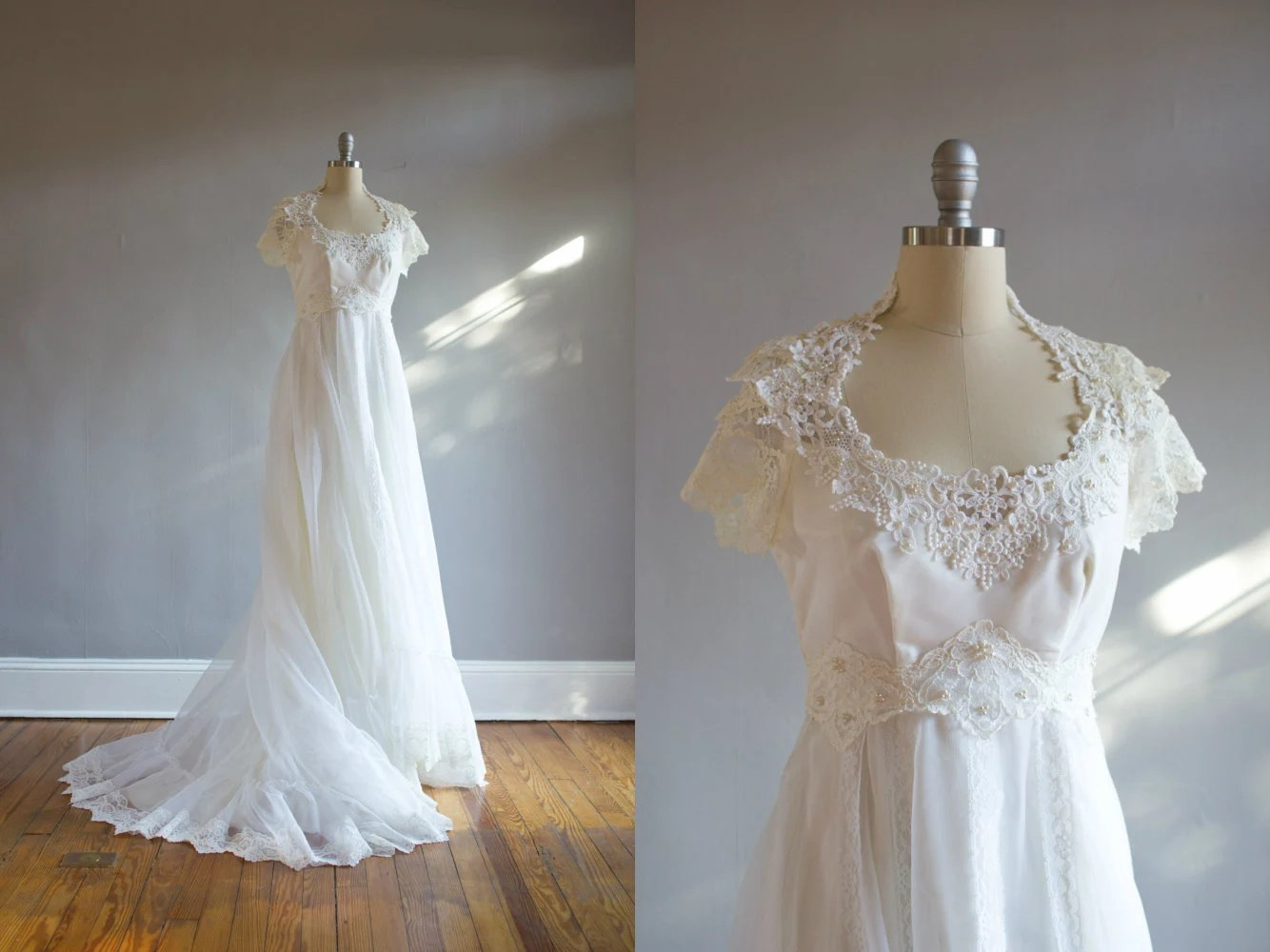 NEW 1970's Chiffon & Lace Short Sleeve Wedding Gown / A