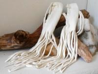 White Leather Braid Wraps with Fringe Handmade Powwow