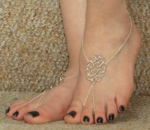 Silver Chain Barefoot Sandals Ankle
