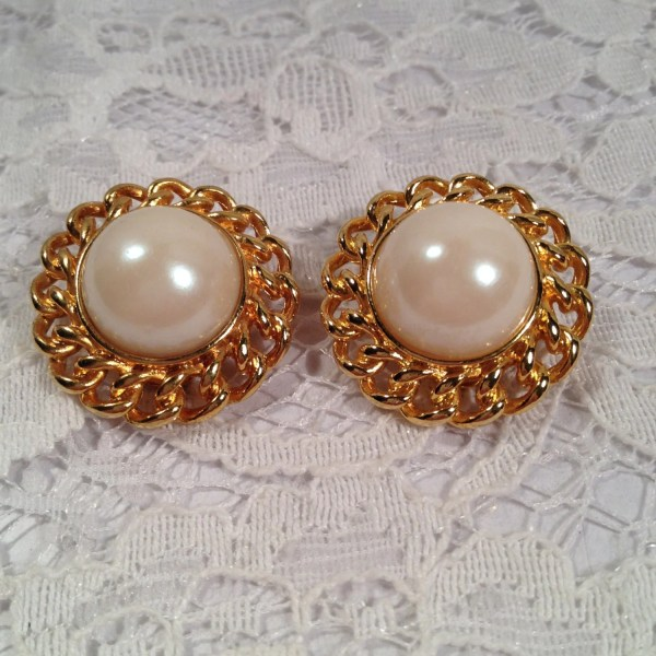 Vintage Clip Large Faux Pearl Earrings In Bright Gold Tone