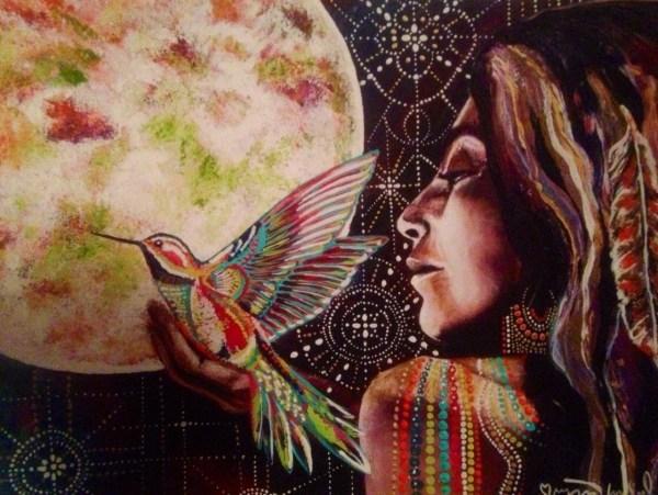 Humming Bird Owl Feather Full Moon Goddess Art Isabel Bryna