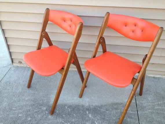 Pair Danish Modern Coronet WONDERFOLD Orange Chairs Norquist