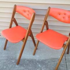 Coronet Folding Chairs Best Nursing Chair Pair Danish Modern Wonderfold Orange Norquist