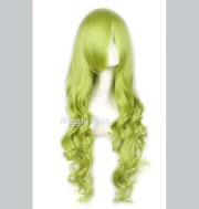 scholar green long curly wig light