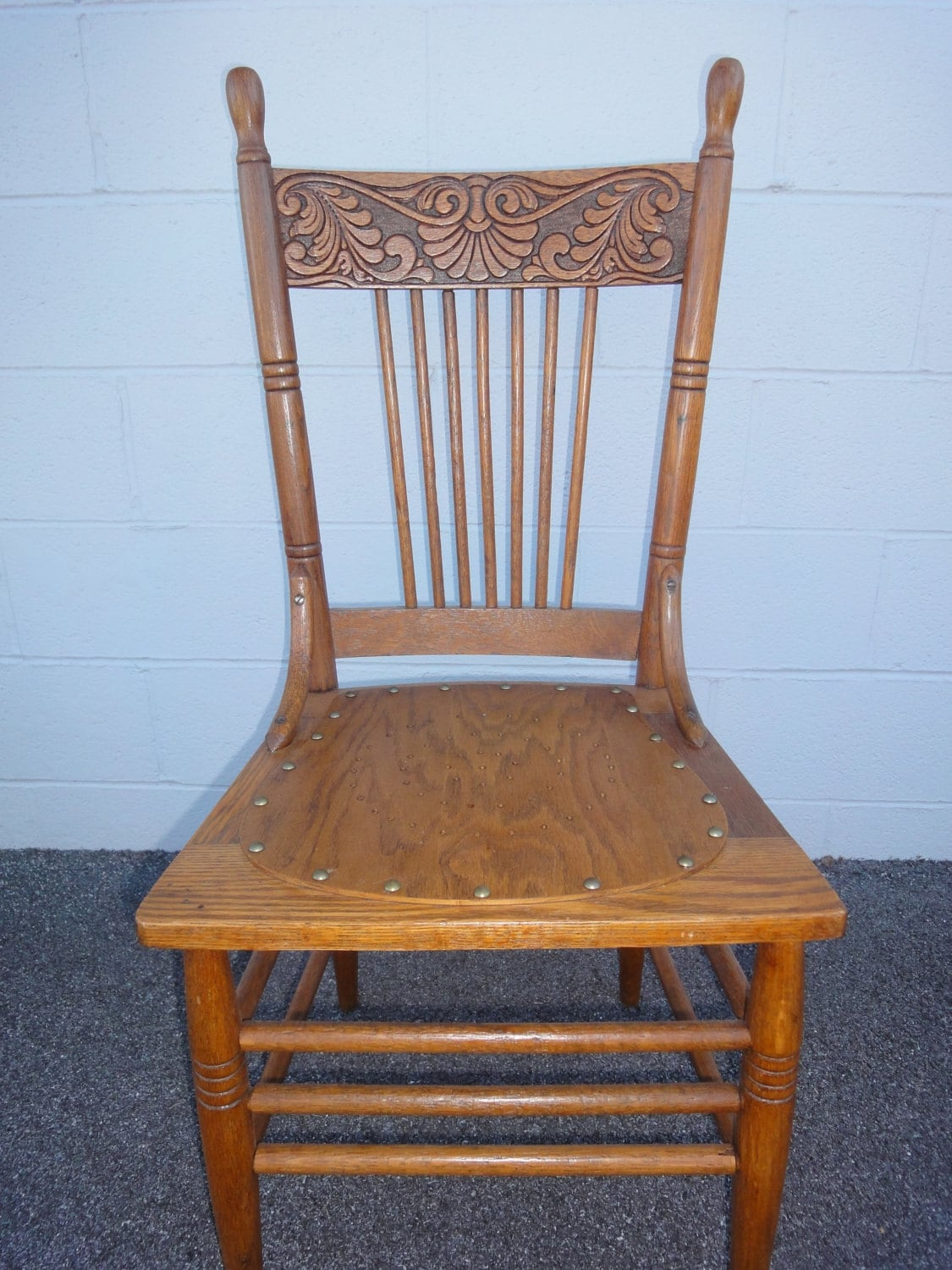 solid oak pressed back chairs best spray paint for plastic antique press chair kitchen ladder