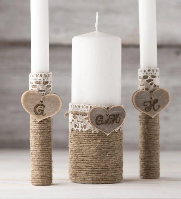 Personalized Unity Candle Set Wedding Candles