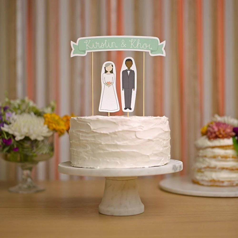 Wedding Cake Topper Set Custom Cake Banner No 3  Bride