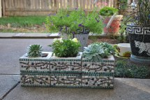 Custom Designed Mosaic Cinder Block Herb Garden Planter Olive