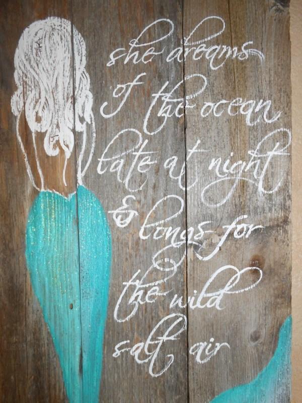 Mermaid Painted On Wood Sign