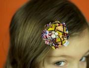 aztec tribal hair clip pink white
