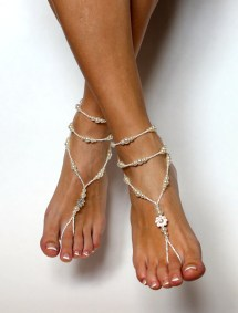 Barefoot Sandals In White And Ivory Handmade Baresandals
