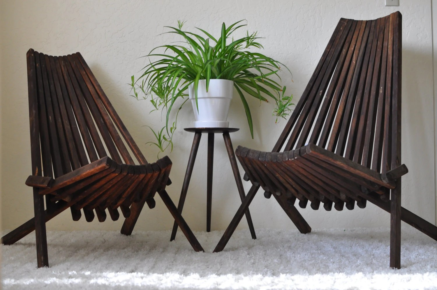 Outdoor Wooden Chairs Reserved Mid Century His And Hers Low Slatted Stick Folding Wood