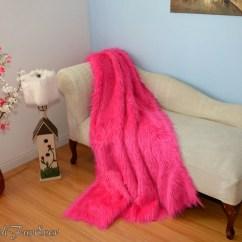 Pink Sofa Throw Chic Set Mongolian Faux Fur Comforters Luxurious Soft