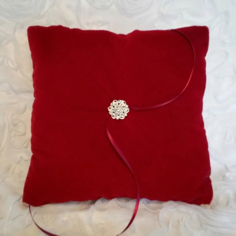 Deep Red Velvet Pillow with Swarvowsi by ADivineDesignbyBarb
