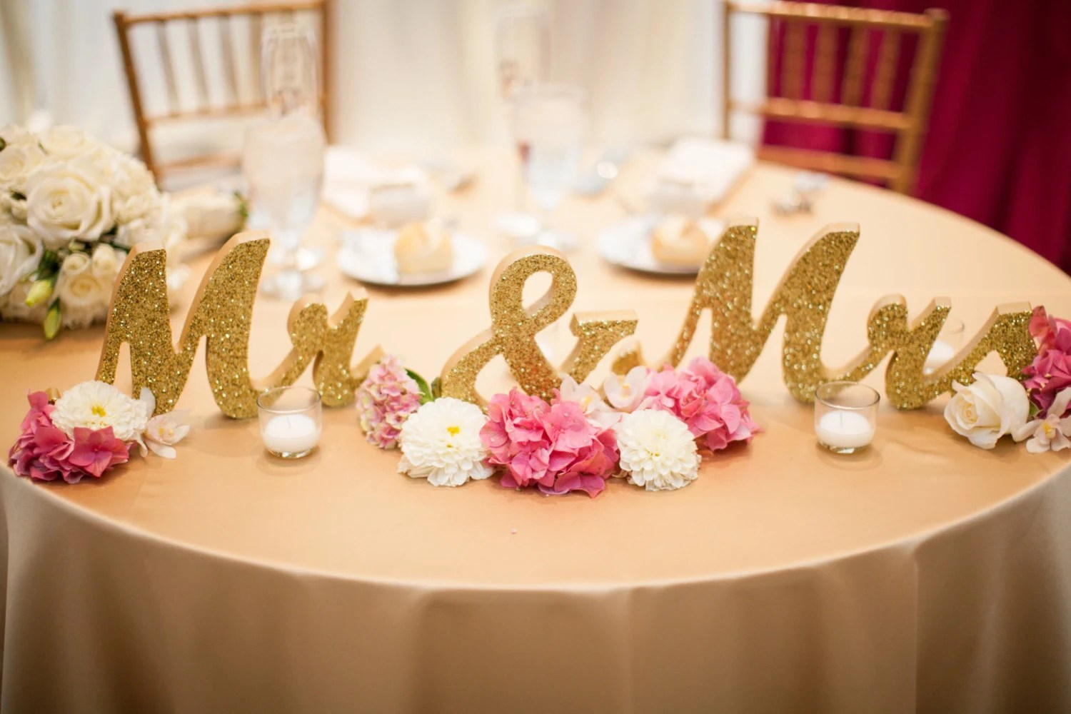 Glitter Mr And Mrs Wedding Signs Table Signs For Sweetheart
