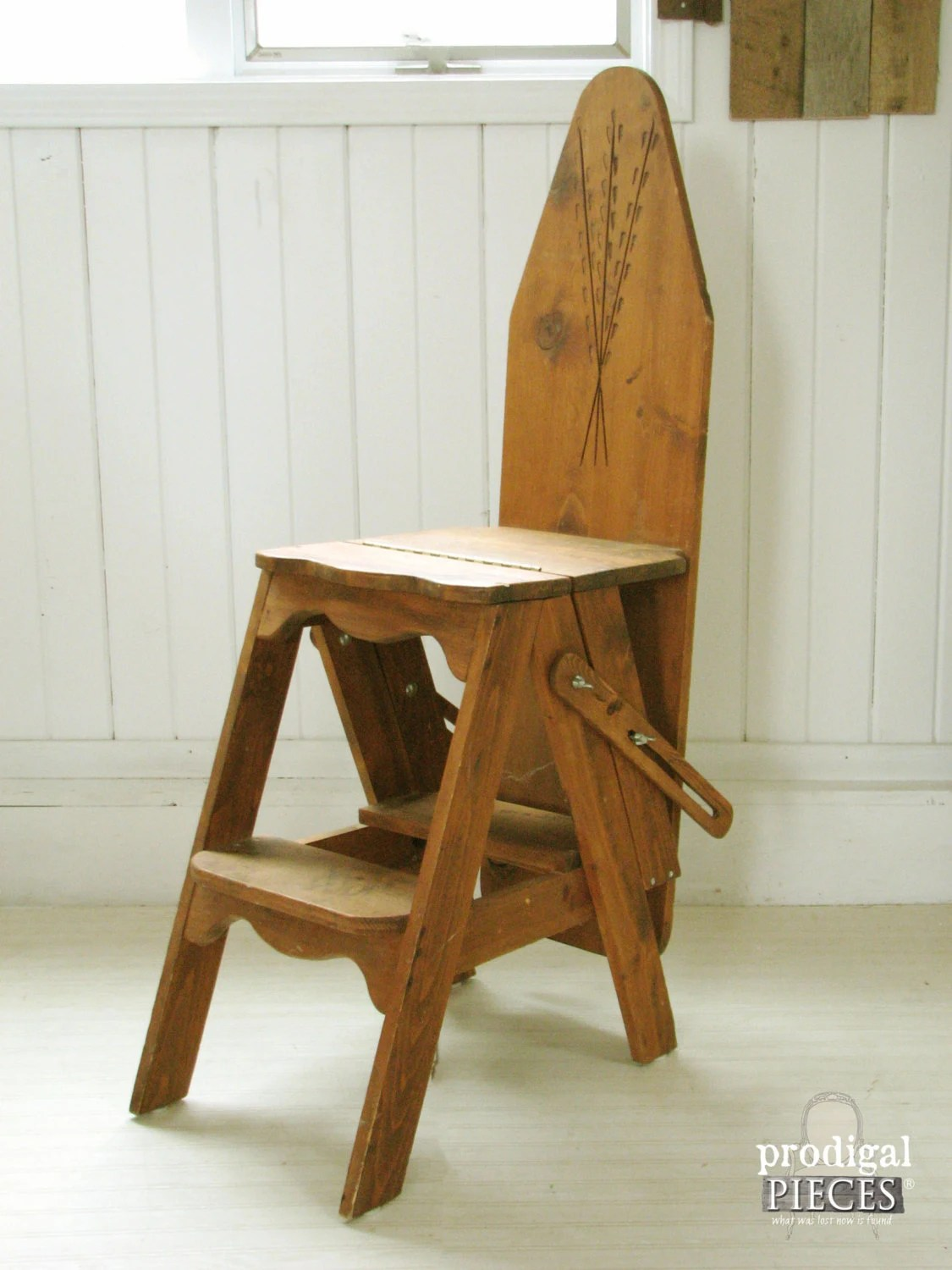 chair step stool ironing board bungee cord menards hand carved rustic unique folding