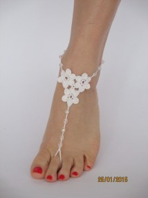 Barefoot Sandalsbeach Wedding Shoeswhite Crochet