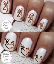 camo orange deer heart nail art
