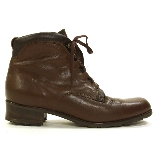 Italian Lace Ankle Boots Brown Leather Women' Size