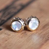 Rainbow moonstone stud earrings gold 14k gold stud earrings
