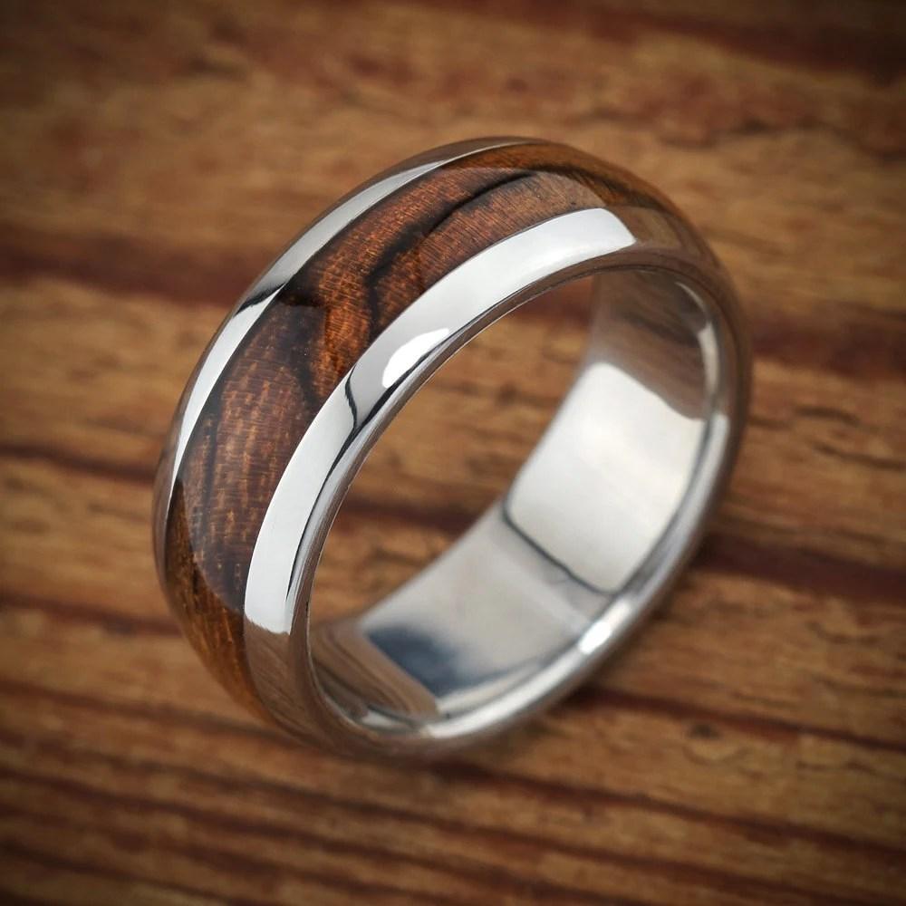 Titanium Wood Wedding Band Bocote Mens Ring