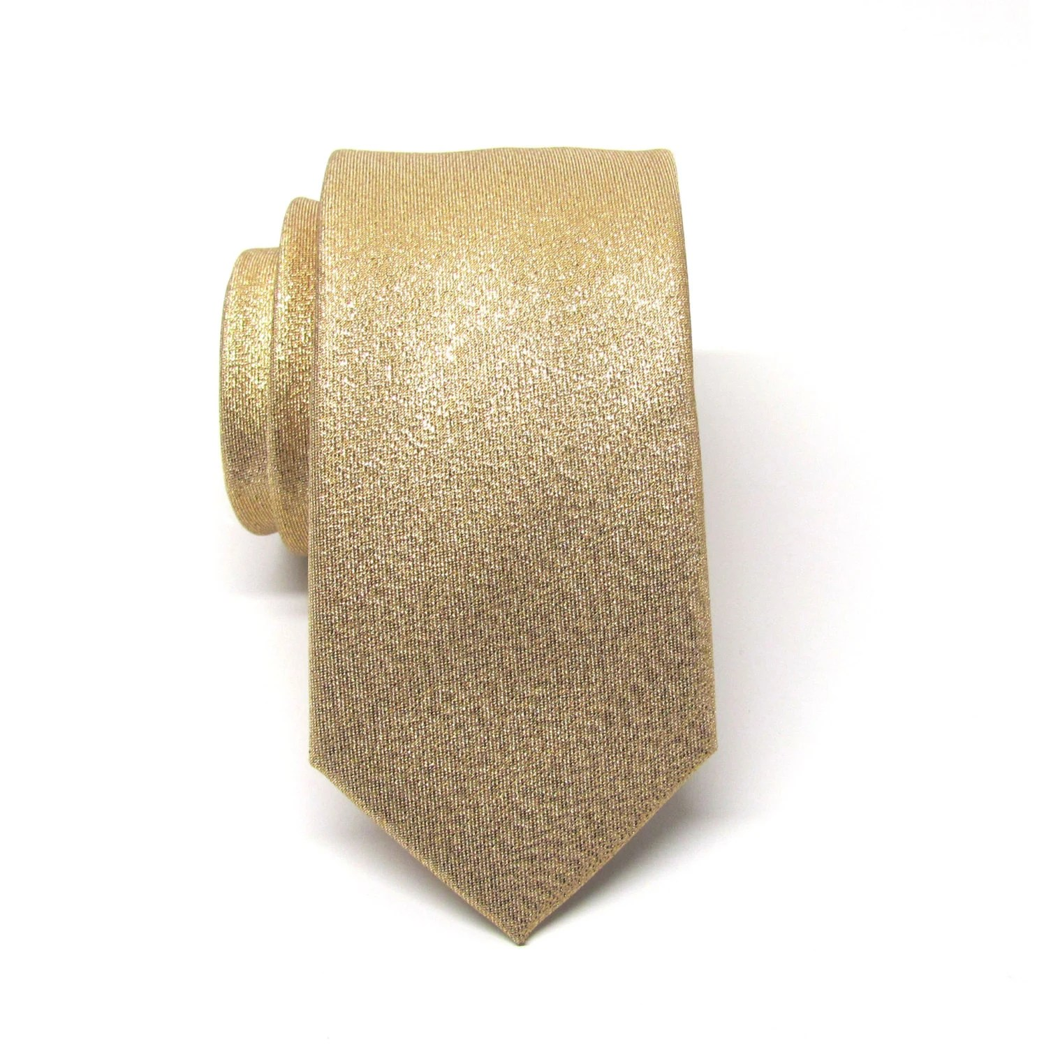Mens Ties Necktie Metallic Lam Gold Metallic Skinny Tie