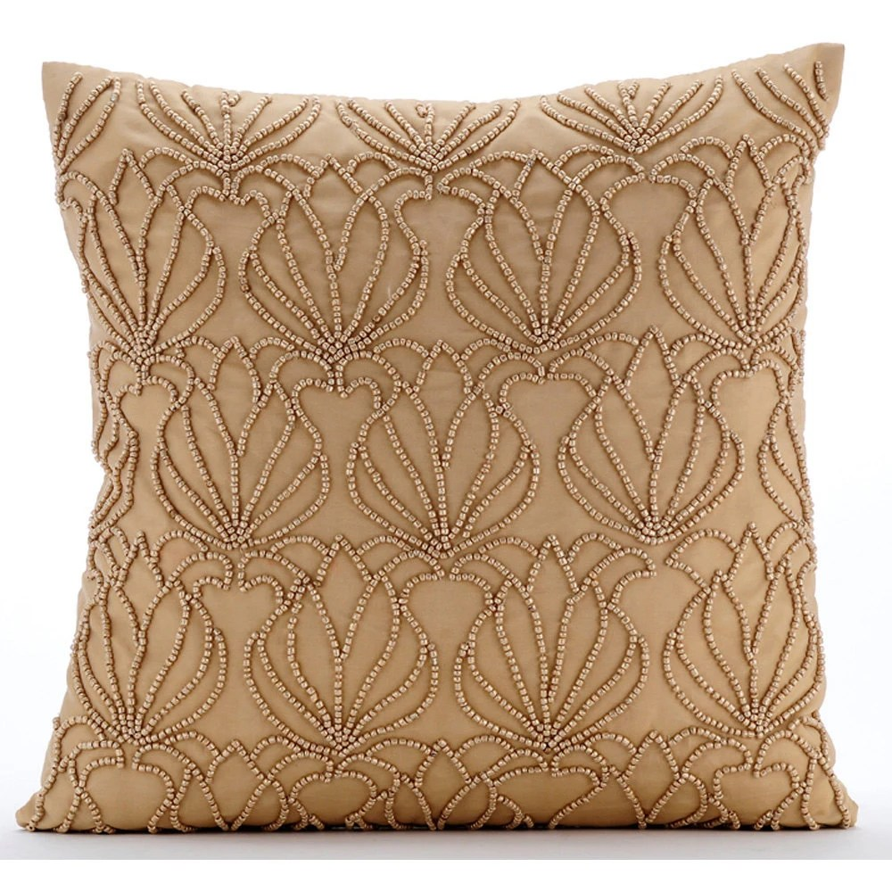 Handmade Gold Decorative Pillows Cover Beaded Lotus Pattern