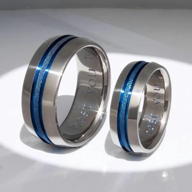 Matching Thin Blue Line Titanium Wedding Bands Stb16