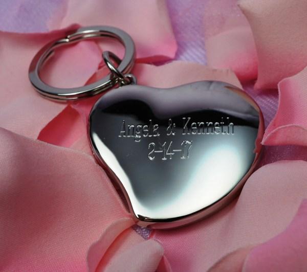 Personalized Heart Locket Key Chain Engraved Keychain