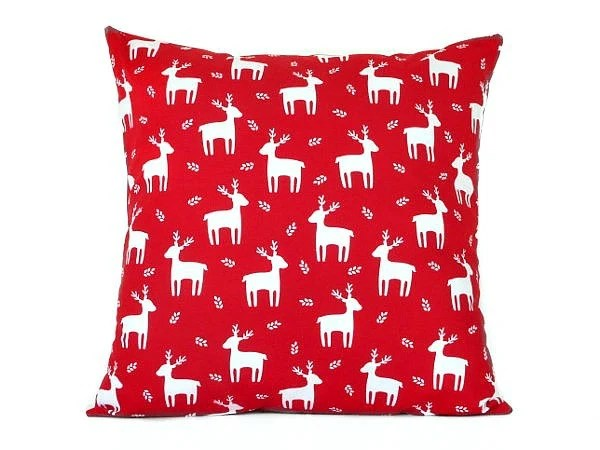 Reindeer Pillow Cover Cushion Red White Nordic Rustic