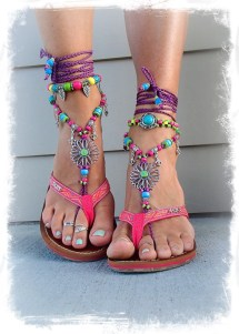 Sunflower Barefoot Sandals Hippie Festival Flower Toe